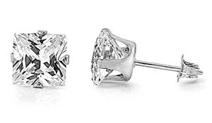 E068012 - 4mm Square Cubic Zirconia and Sterling Silver Post Earrings.