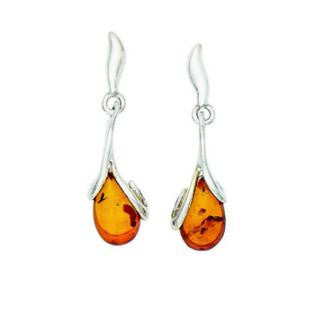 E070002 - Cognac Amber Teardrop and Sterling Silver Post Earrings