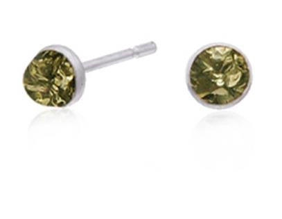 E070005 - Sterling Silver and Green Amber Bezel Set Post Earrings