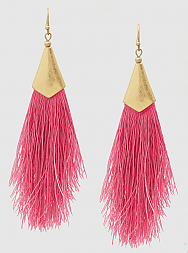 E082012 - Fashion Pink Thread Tassel French Wire Earrings