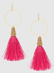 E082014 - Fashion Open Metal Circle and Pink Thread Tassel French Wire Earrings