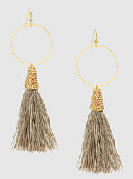 E082015 - Fashion Open Metal Circle and Brown Thread Tassel French Wire Earrings