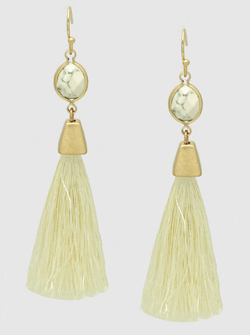 E082019 - Fashion Natural Stone and Off White Thread Tassel Earrings