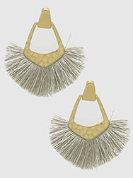 E082025 - Fashion Hammered Metal and Gray Thread Fan Tassel Earrings