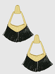 E082029 - Fashion Hammered Metal and Black Tassel Earrings