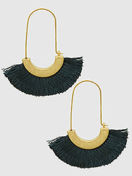 E082031 - Fashion Black Thread Fan Earrings