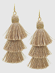 E082032 - Fashion Brown Thread Triple Tassel Earrings.