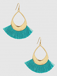 E082034 - Fashion Metal and Blue thread Tassel Earrings