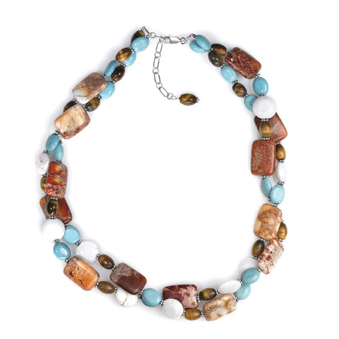 N005100* - Turquoise, Jasper, Tiger Eye and Sterling Silver Necklace