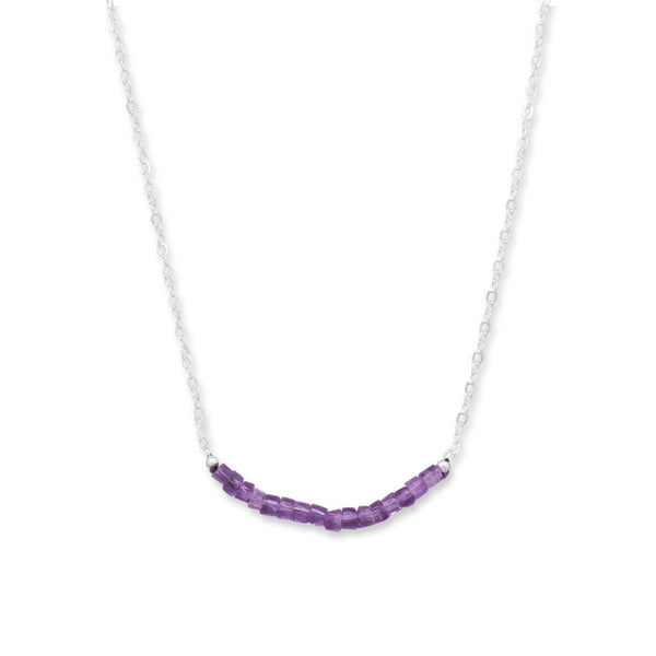 N005180 - Sterling Silver and Amethyst Bead Necklace - February