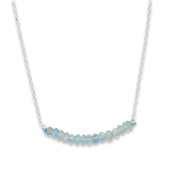 N005181* - Sterling Silver and Aquamarine Bead Necklace - March