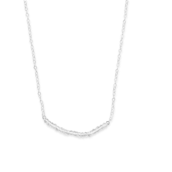 N005182* - Sterling Silver and Clear Quartz Bead Necklace - April