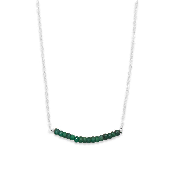 N005183* - Sterling Silver and Emerald Bead Necklace - May