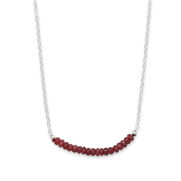 N005185* - Sterling Silver and Ruby Bead Necklace - July