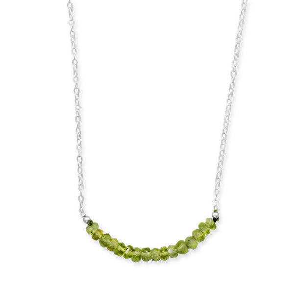 N005186* - Sterling Silver and Peridot Bead Necklace - August