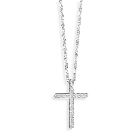 N005193^ - Sterling Silver and Cubic Zirconia Cross Necklace