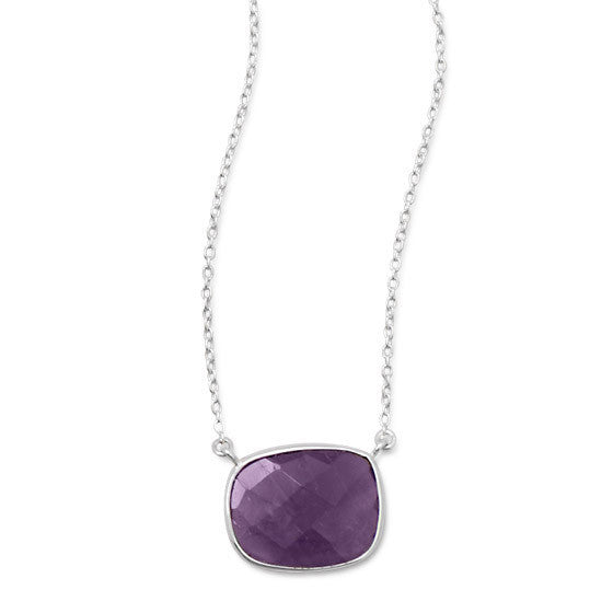 N005205* - Sterling Silver Bezel Set Faceted Amethyst Necklace
