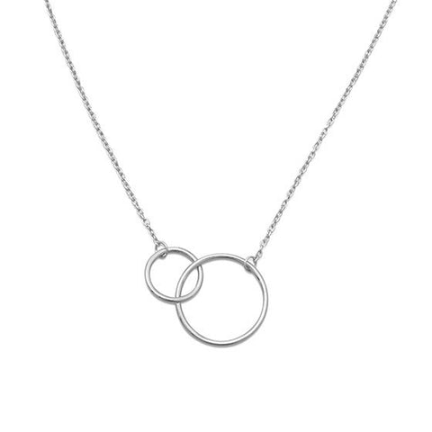N005207 - Double Interlocking Sterling Silver Circle Necklace
