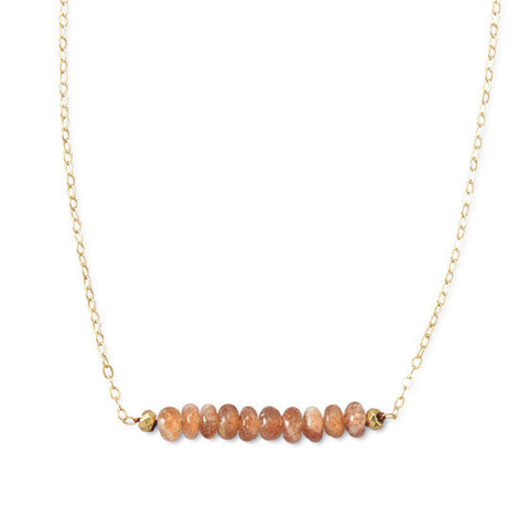 N005211 - 14k Gold Filled Necklace with a Decorative Bar of Sunstone with Pyrite Ends
