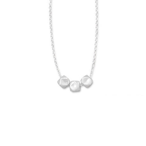 N005212 - Three Bead Sterling Silver Necklace