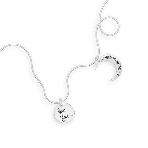"N005214 - Sterling Silver 'Love you to the Moon and Back"" Necklace"