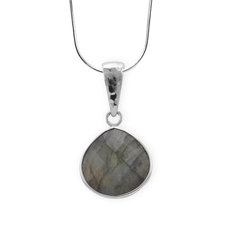 N005222 - Faceted Labradorite and Sterling Silver Necklace