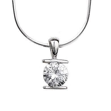 N005230 - Sterling Silver Bar Set Cubic Zirconia Necklace