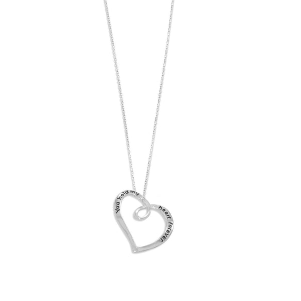 "N005238 - Sterling Silver ""You Hold My Heart Forever"" Necklace"