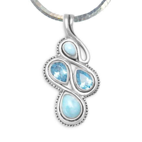 N005257^ - Sterling Silver, Larimar and Blue Topaz Necklace