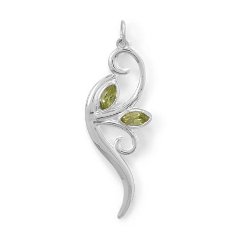 N005274^ - Sterling Silver and Peridot Branch Necklace