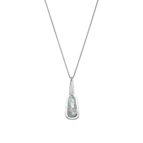 N005277^ - Sterling Silver and Ancient Roman Glass Long Drop Necklace