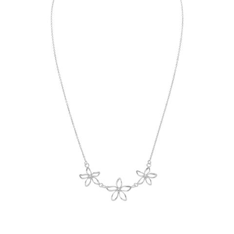 N005288^ - Sterling Silver Open Flower Design Necklace