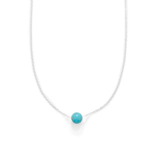 N005294^ - Sterling Silver and Floating Magnesite Bead Necklace