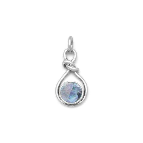 N005306^ - Sterling Silver and Roman Glass Necklace