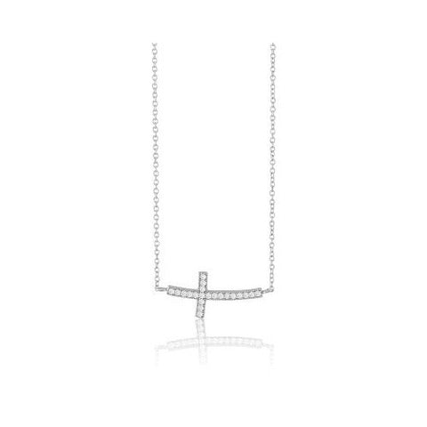 N028013 - Sterling Silver and Cubic Zirconia Curved Sideways Cross Necklace