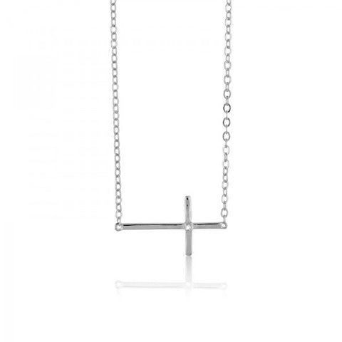 N028015 - Sterling Silver Sideways Cross Necklace with CZ accent