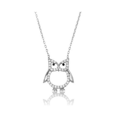 N028019 - Sterling Silver Necklace with Cubic Zirconia Owl Design