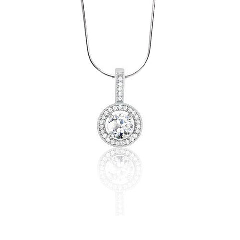 N028037 - Circle Cubic Zirconia and Micro Pave Necklace