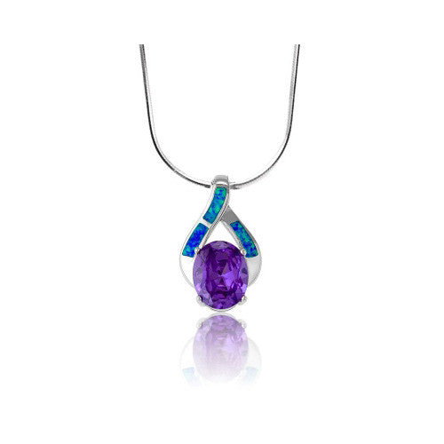 N028038 - Oval Amethyst Cubic Zirconia and Inlay Opal Ribbon Necklace