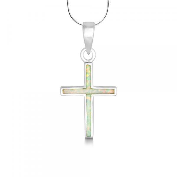 N028055 - White Opal and Sterling Silver Cross Necklace