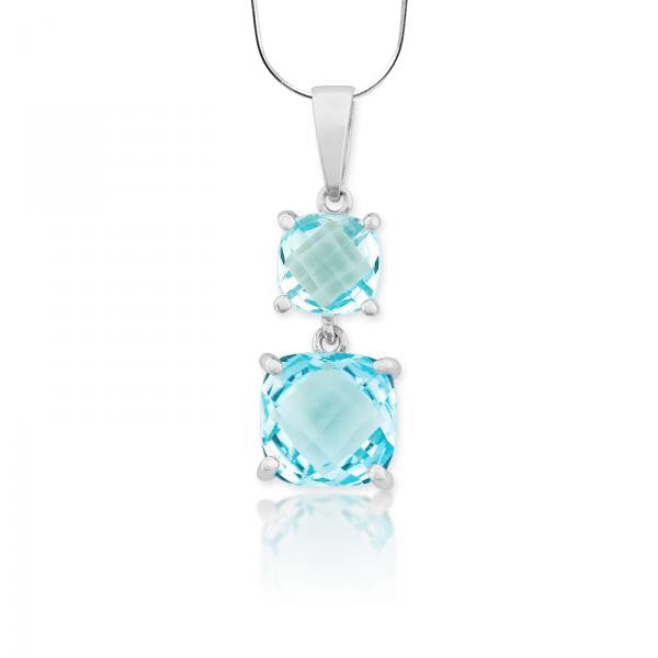 N028057* - Double Blue Topaz and Sterling Silver Necklace