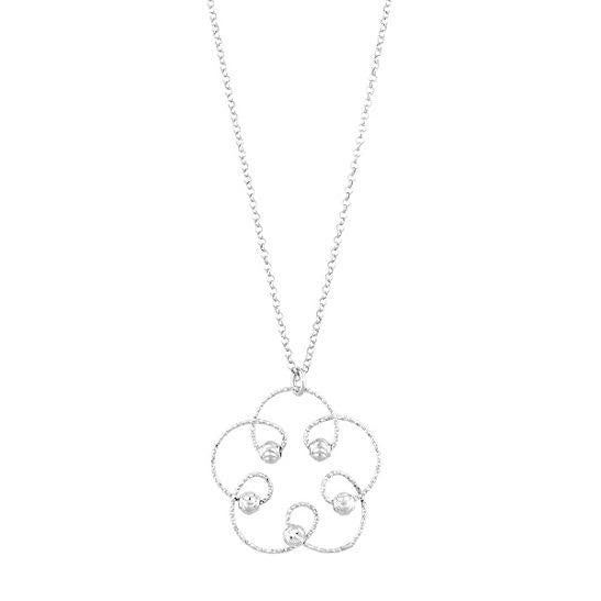 N028061* - Etched Sterling Silver Flower Design Necklace
