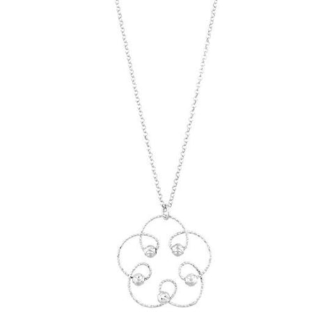 N028061 - Etched Sterling Silver Flower Design Necklace