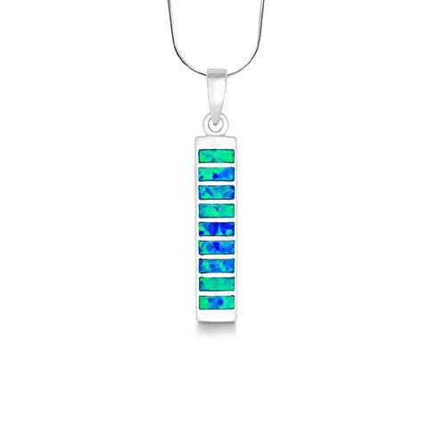 N028066 - Blue Opal Bar Vertical Necklace