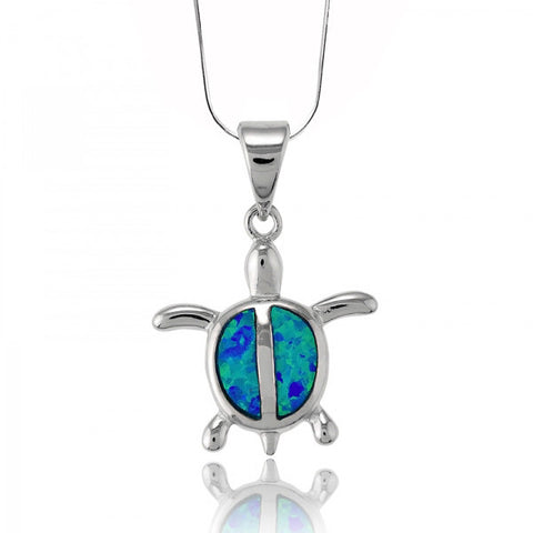 N028071 - Small Turtle Blue Opal Necklace