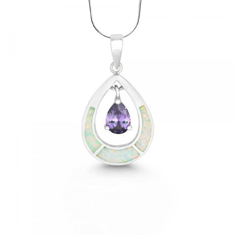 N028072 - White Opal and Amethyst Cubic Zirconia Tear Drop Necklace