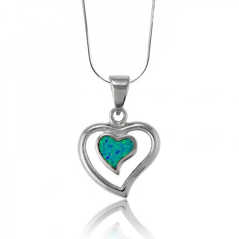 N028075 - Inlay Blue Opal and Sterling Silver Heart Necklace
