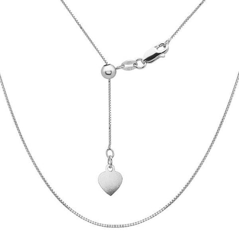 "N028094 - 0.6mm Sterling Silver Adjustable 14-22"" Square Box Chain"