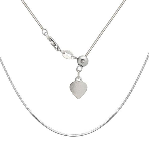 "N028095 - 1mm Sterling Silver Adjustable 14-22"" Square Snake Chain"