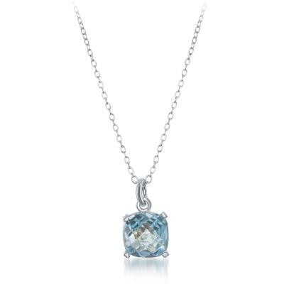 N028097 - Rounded Square Blue Topaz and Sterling Silver Single Drop Necklace
